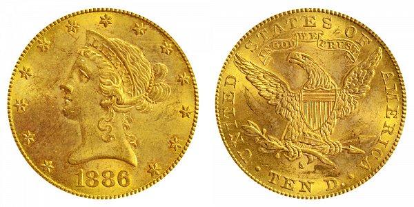 1886 S Liberty Head $10 Gold Eagle - Ten Dollars