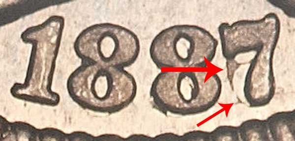 1887/6 Nickel Three Cent Piece - 7 Over 6