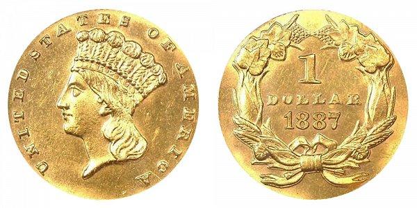 1887 Large Indian Princess Head Gold Dollar G$1