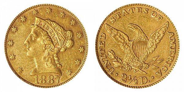 1887 Liberty Head $2.50 Gold Quarter Eagle - 2 1/2 Dollars