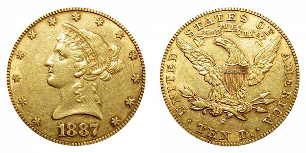 1887 S Liberty Head $10 Gold Eagle - Ten Dollars