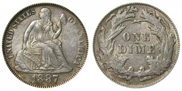 1887 Seated Liberty Dime