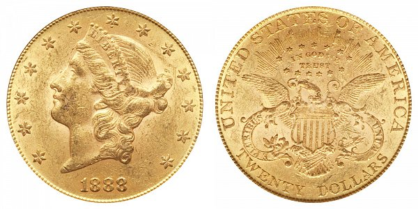 1888 Liberty Head $20 Gold Double Eagle - Twenty Dollars
