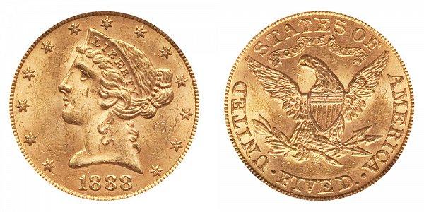 1888 Liberty Head $5 Gold Half Eagle - Five Dollars