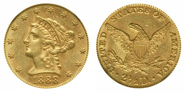 1888 Liberty Head $2.50 Gold Quarter Eagle - 2 1/2 Dollars