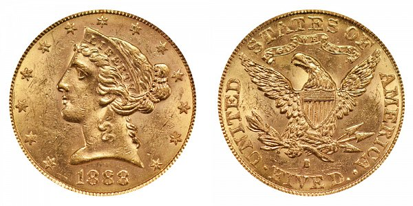 1888 S Liberty Head $5 Gold Half Eagle - Five Dollars