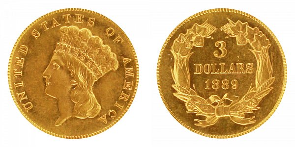 1889 Indian Princess Head $3 Gold Dollars - Three Dollars