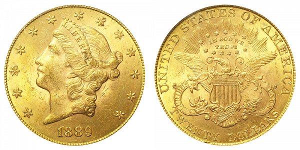 1889 Liberty Head $20 Gold Double Eagle - Twenty Dollars