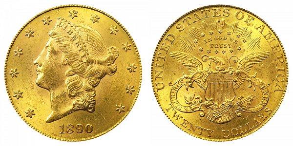1890 Liberty Head $20 Gold Double Eagle - Twenty Dollars