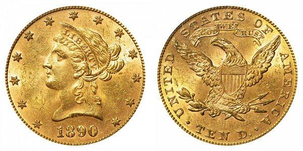 1890 Liberty Head $10 Gold Eagle - Ten Dollars