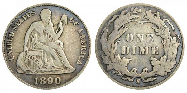1890 S Seated Liberty Dime
