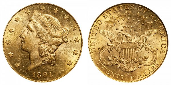 1891 CC Liberty Head $20 Gold Double Eagle - Twenty Dollars