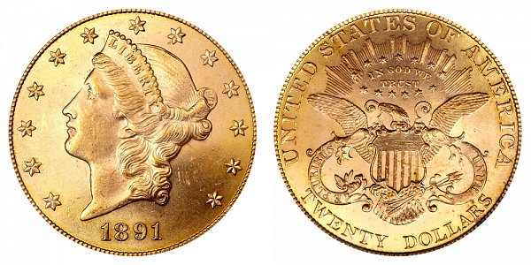 1891 Liberty Head $20 Gold Double Eagle - Twenty Dollars