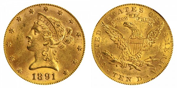 1891 Liberty Head $10 Gold Eagle - Ten Dollars