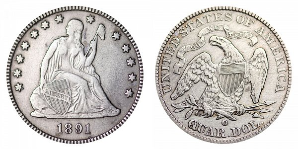 1891 O Seated Liberty Quarter