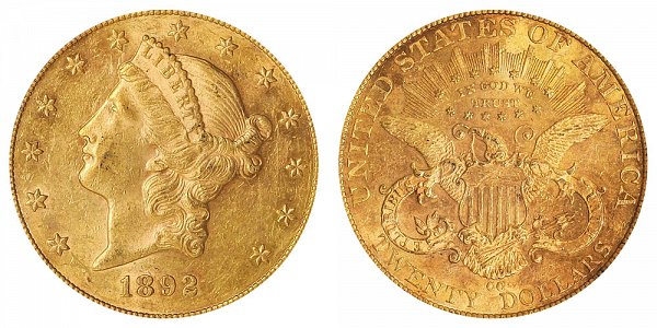 1892 CC Liberty Head $20 Gold Double Eagle - Twenty Dollars