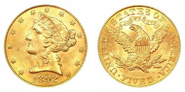 1892 Liberty Head $5 Gold Half Eagle - Five Dollars