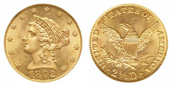 1892 Liberty Head $2.50 Gold Quarter Eagle - 2 1/2 Dollars