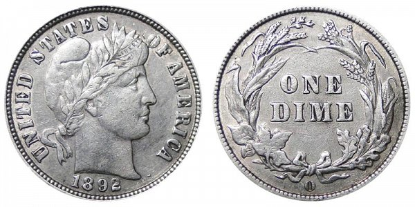 1892 O Silver Barber Dime