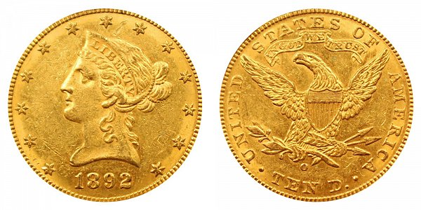 1892 O Liberty Head $10 Gold Eagle - Ten Dollars