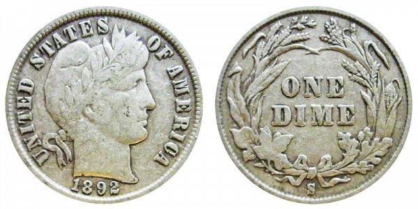 1892 S Silver Barber Dime