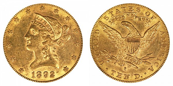 1892 S Liberty Head $10 Gold Eagle - Ten Dollars