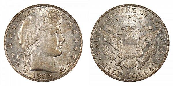 1893 Barber Silver Half Dollar