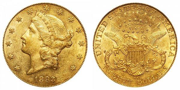 1893 CC Liberty Head $20 Gold Double Eagle - Twenty Dollars