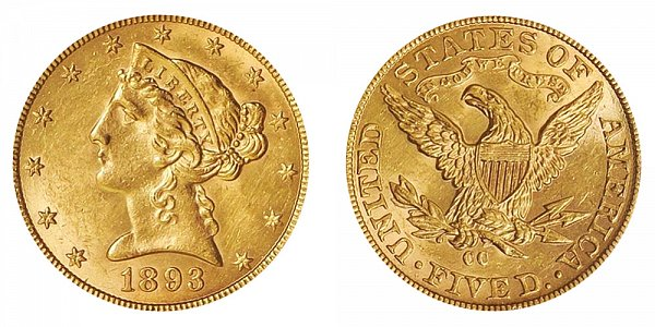 1893 CC Liberty Head $5 Gold Half Eagle - Five Dollars