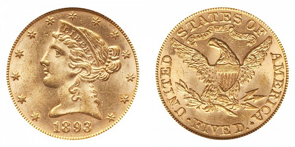 1893 Liberty Head $5 Gold Half Eagle - Five Dollars