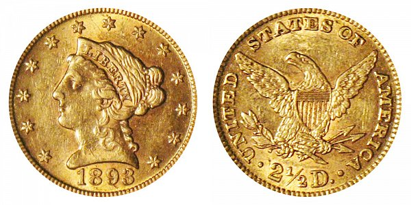 1893 Liberty Head $2.50 Gold Quarter Eagle - 2 1/2 Dollars