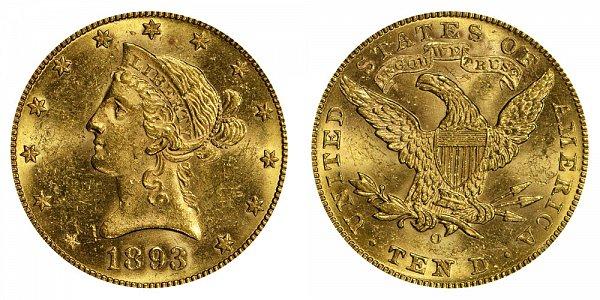 1893 O Liberty Head $10 Gold Eagle - Ten Dollars