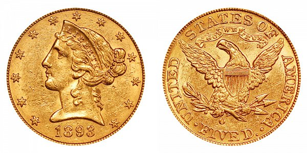 1893 O Liberty Head $5 Gold Half Eagle - Five Dollars