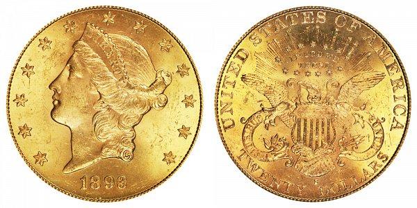1893 S Liberty Head $20 Gold Double Eagle - Twenty Dollars