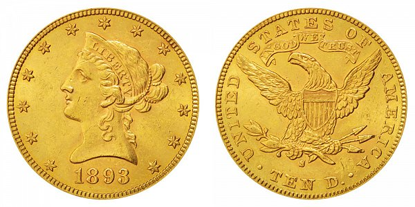 1893 S Liberty Head $10 Gold Eagle - Ten Dollars