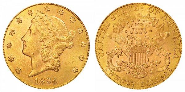1894 Liberty Head $20 Gold Double Eagle - Twenty Dollars