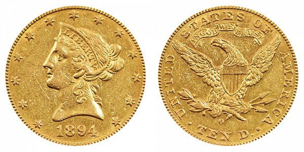 1894 O Liberty Head $10 Gold Eagle - Ten Dollars