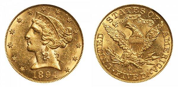 1894 O Liberty Head $5 Gold Half Eagle - Five Dollars