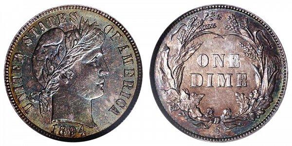 1894 S Silver Barber Dime