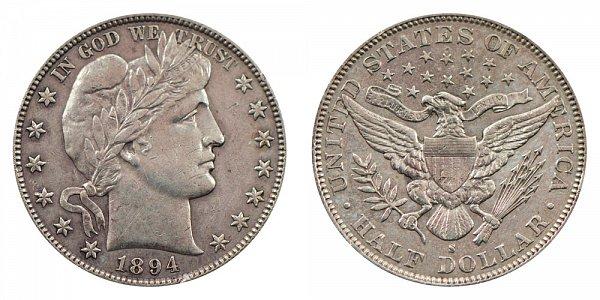 1894 S Barber Silver Half Dollar