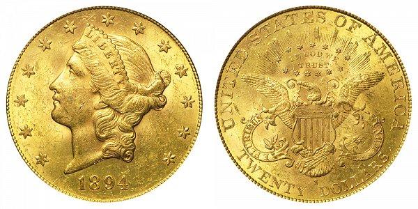 1894 S Liberty Head $20 Gold Double Eagle - Twenty Dollars