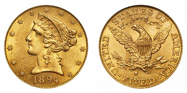 1894 S Liberty Head $5 Gold Half Eagle - Five Dollars
