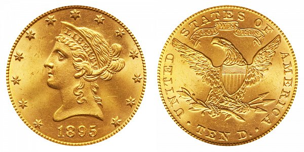 1895 Liberty Head $10 Gold Eagle - Ten Dollars