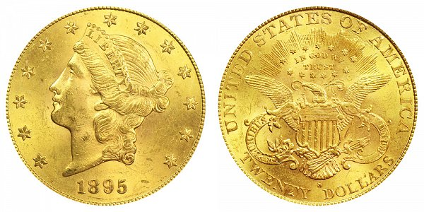 1895 S Liberty Head $20 Gold Double Eagle - Twenty Dollars