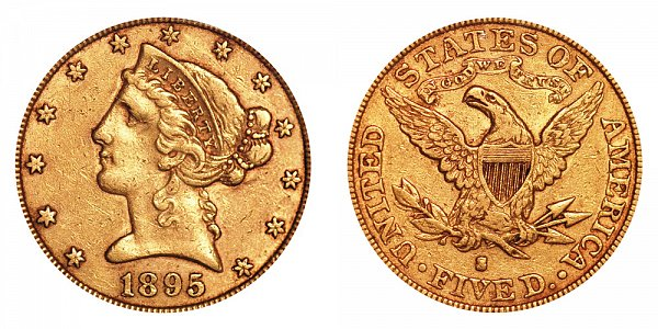 1895 S Liberty Head $5 Gold Half Eagle - Five Dollars
