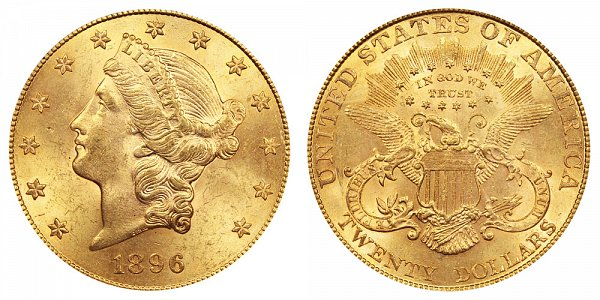 1896 Liberty Head $20 Gold Double Eagle - Twenty Dollars
