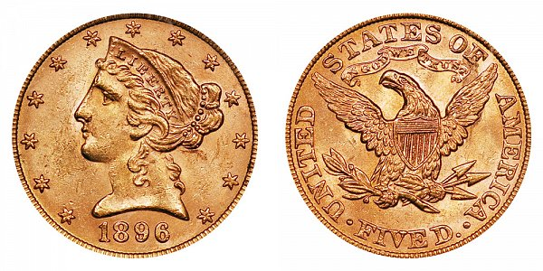 1896 Liberty Head $5 Gold Half Eagle - Five Dollars