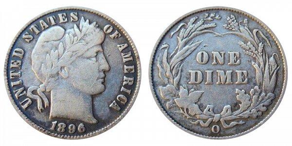 1896 O Silver Barber Dime