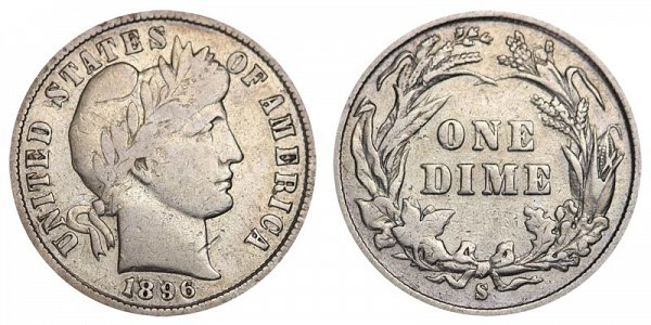 1896 S Silver Barber Dime