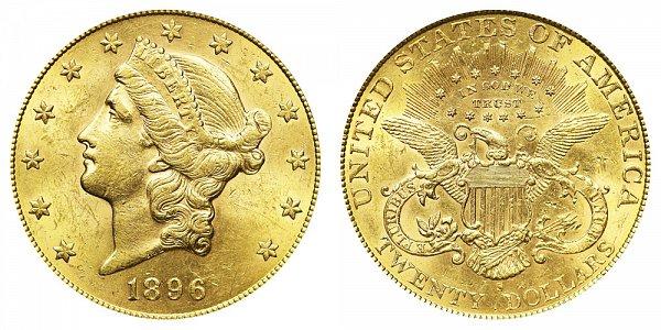 1896 S Liberty Head $20 Gold Double Eagle - Twenty Dollars